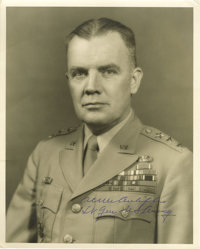 """General Anthony C. McAuliffe Signed Photo """"Nuts!"""". This 8"""" x 10"""" B&W photo is signed """"A..."""