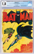 Golden Age (1938-1955):Superhero, Batman #1 (DC, 1940) CGC Conserved GD- 1.8 Off-white pages....