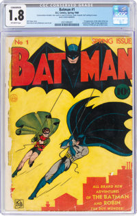 Batman #1 (DC, 1940) CGC Conserved GD- 1.8 Off-white pages