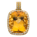 Estate Jewelry:Pendants and Lockets, Diamond, Citrine, Gold Pendant-Enhancer . ...