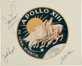 "Explorers:Space Exploration, Apollo 13 Flown Crew: Signed NASA ""Red Number"" Mission Insignia Color Photo. ..."