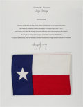 Explorers:Space Exploration, Apollo 16 Flown Texas State Flag Directly from the John W. Young Collection, with Letter of Certification. ...