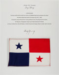 Explorers:Space Exploration, Gemini 10 Flown Flag of Panama Directly from the John W. Young Collection, with Letter of Certification....