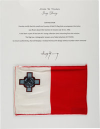 Gemini 10 Flown Flag of Malta Directly from the John W. Young Collection, with Letter of Certification