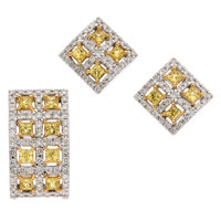 Yellow Sapphire, Diamond, White Gold Jewelry Suite ... (Total: 2 Items)