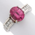 Estate Jewelry:Rings, Pink Tourmaline, Diamond, Platinum Ring . ...