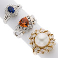 Estate Jewelry:Rings, Diamond, Multi-Stone, South Sea Cultured Pearl, Platinum, Gold Rings. ... (Total: 3 Items)