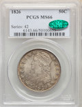 Bust Half Dollars: , 1826 50C MS66 PCGS. Pop (6/2), CDN Collector Price ($15700.00), CCDN Price ($11000.00), CAC (9/2)