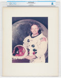 Explorers:Space Exploration, NASA: Neil Armstrong Large White Spacesuit Vintage NASA Color Photo on Presentation Mat Directly From The Armstrong Family Col...