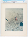 Explorers:Space Exploration, NASA: A View of the American Flag From the Lunar Module Vintage NASA Color Photo on Presentation Mat Directly From The Armstro...