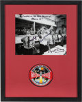 Explorers:Space Exploration, Apollo 13: Mission Control Celebration Photo Signed by Griffin, Kranz, Lunney, and Windler Matted and Framed with an Embroider...