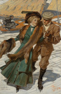 Paintings, Joseph Christian Leyendecker (American, 1874-1951). Ice Skaters, The Popular Magazine cover, March 1909. Oil on canvas. ...