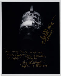 Apollo 13 Damaged Service Module Photo Signed by Gene Kranz and Sy Liebergot