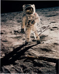 "Explorers:Space Exploration, Buzz Aldrin Signed Large Apollo 11 Lunar Surface ""Visor"" Color Photo (Vertical) Originally from His Personal Collection. ..."