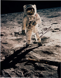 """Buzz Aldrin Signed Large Apollo 11 Lunar Surface """"Visor"""" Color Photo (Vertical) Originally from His Personal C..."""