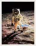 """Explorers:Space Exploration, Buzz Aldrin Signed Large Apollo 11 Lunar Surface """"Visor"""" Color Poster Originally from His Personal Collection. ..."""