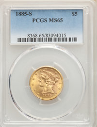 1885-S $5 MS65 PCGS. PCGS Population: (78/10). NGC Census: (109/12). CDN: $1,675 Whsle. Bid for NGC/PCGS MS65. Mintage 1...