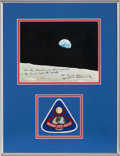 """Explorers:Space Exploration, Frank Borman Signed Apollo 8 """"Earthrise"""" Color Photo with Handwritten Scripture Matted and Framed with an Embroidered Mission ..."""