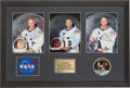 Explorers:Space Exploration, Apollo 11: Matching Individually-Signed White Spacesuit Color Photos Matted and Framed with Embroidered NASA and Apollo 11 Mis...