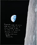 """Explorers:Space Exploration, Frank Borman Signed Large Apollo 8 """"Earthrise"""" Color Photo with Added Quote...."""