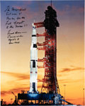 Explorers:Space Exploration, Frank Borman Signed Large Apollo 8 Launch Vehicle Color Photo. ...