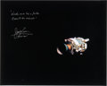Explorers:Space Exploration, James Lovell Signed Large Apollo 13 Damaged Service Module Color Photo with Famous Quote. ...