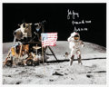 """Explorers:Space Exploration, John Young Signed Apollo 16 Lunar Surface """"Leaping Salute"""" Color Photo...."""
