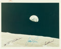 """Explorers:Space Exploration, Apollo 8: """"Earthrise"""" Original NASA """"Red Number"""" Color Photo, AS8-14-2383, with Autopenned Crew Signatures. ..."""
