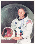 Explorers:Space Exploration, Neil Armstrong Signed, Uninscribed White Spacesuit Color Photo. ...