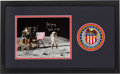 """Explorers:Space Exploration, John Young Signed Apollo 16 Lunar Surface """"Leaping Flag Salute"""" Color Photo Matted and Framed with an Embroidered Mission Insi..."""