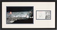 Neil Armstrong Signed Photo Matted and Framed with Apollo 11 Lunar Surface Color Photo
