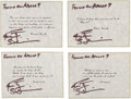 Explorers:Space Exploration, Apollo 9 Flown Group of Four Famous Quotes (Set 5) Directly from the Personal Collection of Mission Lunar Module Pilot Rusty S...