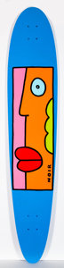 Collectible, Thierry Noir (b. 1958). Blue with Lips, n.d.. Acrylic on skate deck. 50 x 10 inches (127 x 25.4 cm). Signed recto. ...