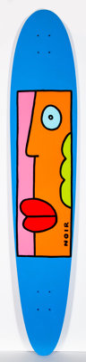 Thierry Noir (b. 1958) Blue with Lips, n.d. Acrylic on skate deck 50 x 10 inches (127 x 25.4 cm)<