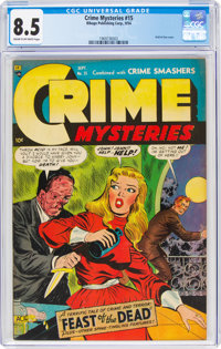 Crime Mysteries #15 (Ribage Publishing, 1954) CGC VF+ 8.5 Cream to off-white pages
