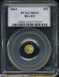California Fractional Gold: , 1864 25C Liberty Round 25 Cents, BG-821, Low R.5, MS63 PCGS. ...