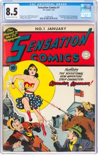 Sensation Comics #1 (DC, 1942) CGC VF+ 8.5 Off-white to white pages