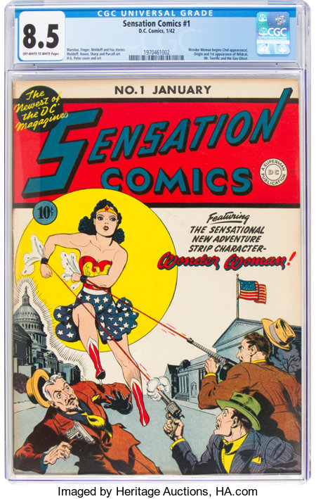 Sensation Comics #1 (DC, 1942) CGC VF+ 8.5 Off-white to white pages....