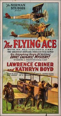 "The Flying Ace (Norman, 1926). Folded, Fine+. Three Sheet (41"" X 78.5""). Black Films"
