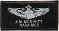 "Explorers:Space Exploration, Jim McDivitt Owned and Worn Original Apollo-Era ""JIM MCDIVITT/ NASA-MSC"" Leather Flight Suit Name Tag as Given to a Member of ..."
