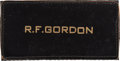 "Explorers:Space Exploration, Richard Gordon Owned and Worn Original Apollo-Era ""R.F. GORDON"" Leather Flight Suit Name Tag as Given to a Member of the Prime..."