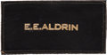 "Explorers:Space Exploration, Buzz Aldrin Owned and Worn Original Apollo-Era ""E.E. ALDRIN"" Leather Flight Suit Name Tag as Given to a Member of the Prime Cr..."