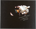 Explorers:Space Exploration, Fred Haise Signed Large Apollo 13 Damaged Service Module Color Photo on Canvas....