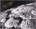 Explorers:Space Exploration, Tom Stafford Signed Large Apollo 10 Lunar Craters Color Photo on Canvas. ...