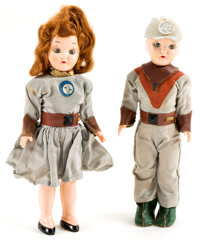 Tom Corbett Space Cadet Boy and Girl Dolls Group of 2 (Marcie Brand Dolls, 1950s).... (Total: 2 Items)