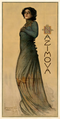 "Alla Nazimova in Hedda Gabler (1907). Fine+ on Linen. Theater Three Sheet (41"" X 81"") Sigismund Ivanowski Artw..."