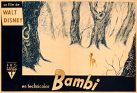 """Bambi (RKO, 1947). Very Fine- on Linen. Horizontal First Post-War Release French Double Grande (89.5"""" X 60.5"""")..."""