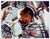 Walt Cunningham Signed Apollo 7 In-Flight Color Photo