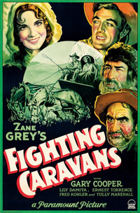 "Fighting Caravans (Paramount, 1931). Rolled, Very Fine-. Full-Bleed One Sheet (26.5"" X 40"") Style A"