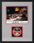 Explorers:Space Exploration, Apollo 13: Gene Kranz Signed (with Added Quote) Mission Control Color Photo Matted and Framed with an Embroidered Patch. ...